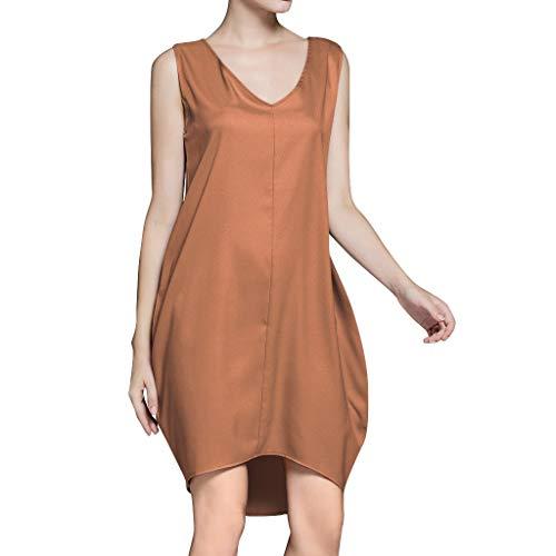 Dicomi Kleider Damen Ärmelloses Behälter Sommer Beiläufiges V-Hals Lose Strandurlaub T-Shirt