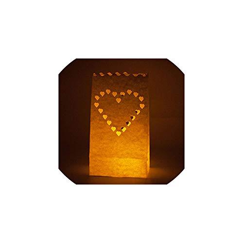 Papierlaterne 20 PC/Los Herz-geformte Teelichthalter Himmel Papierlaterne-Kerze-Beutel für Weihnachtsfest-Hochzeit im Freien Dekoration, Big Love Heart