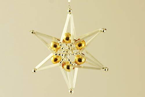 Silber-Gold-Geflochtene Sterne-Tschechische böhmische Weihnachten, Baum, Geschenk, Ornamente, Glasperlen Projekt Handmade Hobby-DIY-Kit-Set 90mm x 90mm x 50mm