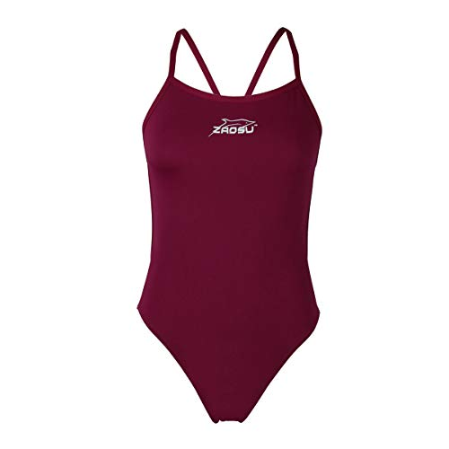 ZAOSU Damen und Mädchen Schwimmanzug Essential | Sport Badeanzug für das Schwimm Training, Größe:140, Farbe:lila