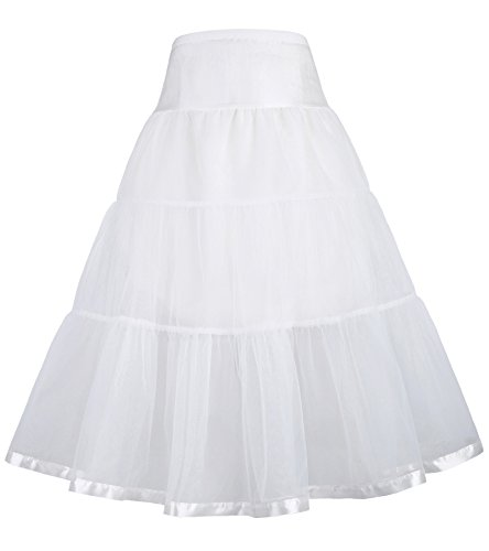 GRACE KARIN Girls Two Layers Tiered Retro Vintage Dress Crinoline Underskirt Petticoat