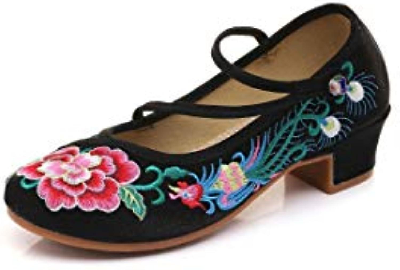 Bordado Zapatos/Alpargatas/ Merceditas/Zapatos de paño Bordados Femeninos del Viento Nacional Zapatos de Baile