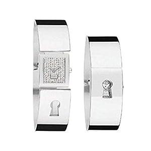 Reloj Mujer Solo Tiempo, Caja de Acero Rectangular 19 x 22 mm, Esfera Gris, Correa Modelo Pulsera de Acero con Apertura de Resorte.