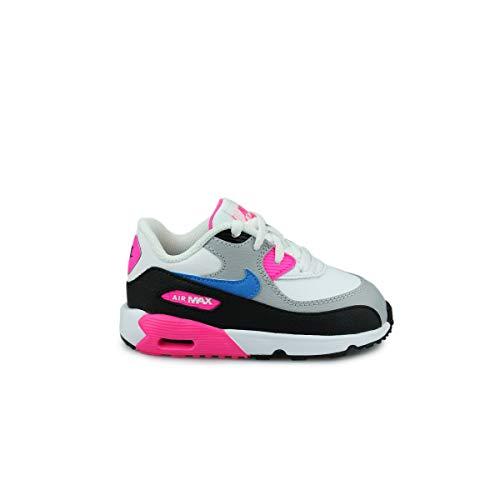 Nike Baby Mädchen AIR MAX 90 LTR (TD) Sneaker, Mehrfarbig (White/Photo Blue-Black-Pink Blast 107), 26 EU (Nike Mädchen Baby Schuhe)