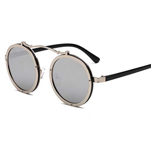 GJYANJING Sonnenbrille Beliebte Frauen Runde Sonnenbrille Vintage Männer Matte Frame Sonnenbrille Uv400