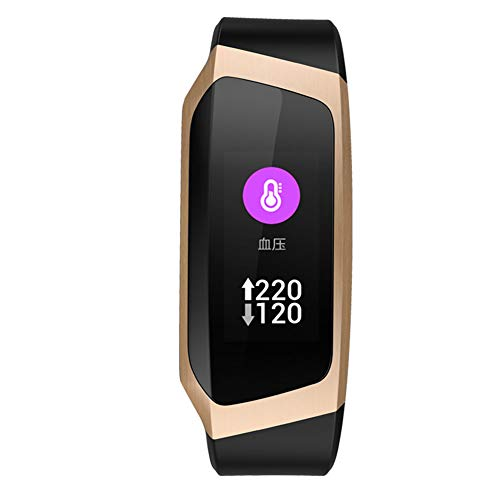 MSQL Fitness Tracker Farbbildschirm Smart Armband Herzfrequenz- und Schlafmonitor Wasserdichte Trainingsuhr für Android & iOS,BlackGold