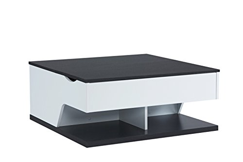 MORE DESIGN Table Basse, Panneau et PVC, Blanc/Noir, 79 x 53 x 79 cm