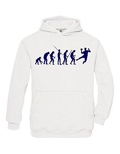 HANDBALL Evolution Kinder Sweatshirt mit Kapuze HOODIE weiss-navy, Gr.164cm
