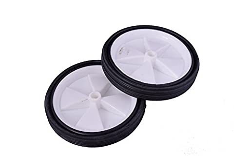 "PAIR GREAT 5"" (125mm) WHEELS, CENTRE HOLE 10mm SOLID WHEEL IDEAL FOR CARTS, TROLLEYS PROJECTS ETC"