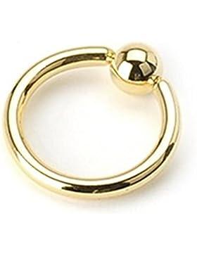 Paula & Fritz® Piercing Augenbraue Brustwarzen Tragus aus 14 Karat Echtgold Ring mit Klemmkugel alle Größen GDR