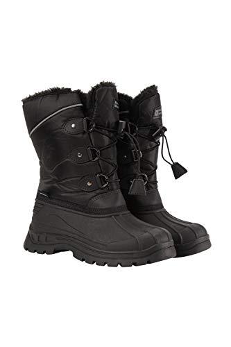 Mountain Warehouse Whistler Schneestiefel für Kinder - Schneedicht, warm, atmungsaktiv, strapazierfähige und griffige Sohlen Schwarz Kinder-Schuhgröße 34 DE