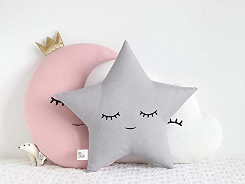 The Purple Tree Cute Grey Cloud Moon Star Crib Cushion Set for Babies (3 pc), Baby Cot Cushions, Baby Cushions, Cute Crib Cushion Set