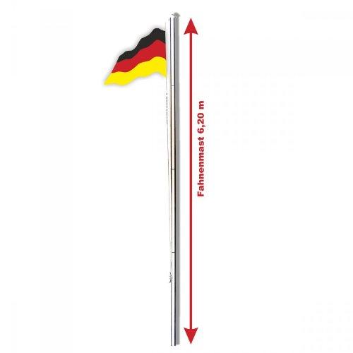 Aluminium Fahnenmast 6,20m inkl. Deutschlandflagge