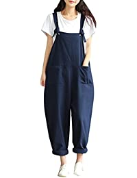 f7c476a5e8 Yasong Women Loose Fit Wide Leg Dungarees Jumpsuit Playsuit Navy