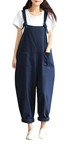 Yasong Women Loose Fit Wide Leg Dungarees Jumpsuit Playsuit Navy