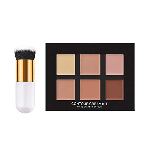 Frcolor 2pcs 6 Couleurs Professionnel Anti-cernes Camouflage Maquillage Palette Contour Contour kit avec Brosse de Fondation (TM-038)