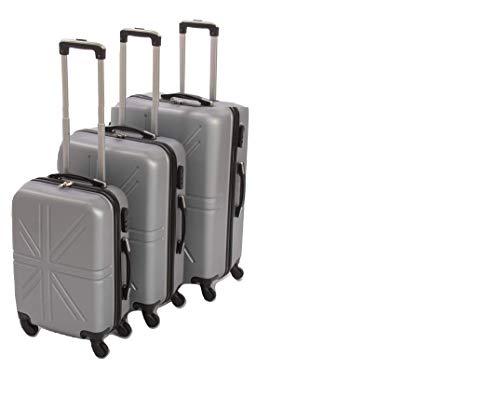 Dublin set da 3 pezzi valige trolly in ABS e policarbonato con 4 ruote girevoli 360° gradi colori vari (silver grey)