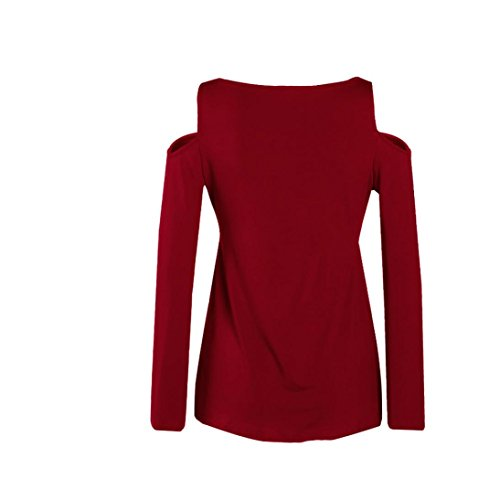 Tonsee Mode Femmes Loose manches longues Casual Tops Blouse Vin rouge