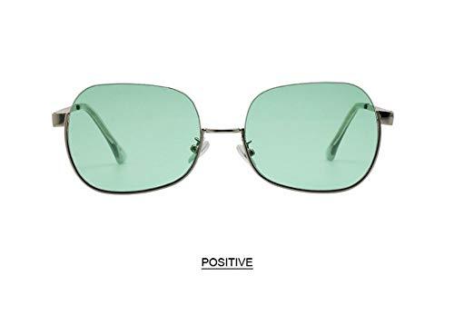 WSKPE Sonnenbrille,Anti Blaues Licht Brillengestell Hälfte Frame Sonnenbrille Frauen Männer Klar Sonnenbrille Uv400 Silber Rahmen Leichte,Grüne Linse