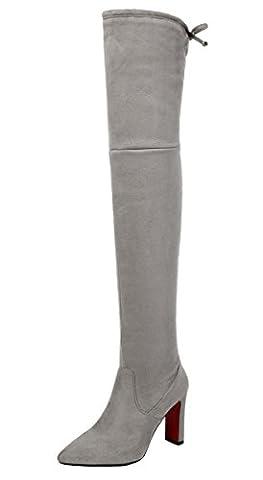 YE Damen Wildleder Nubuckleder Spitze Overknee Stiefel High Heels mit Schnürung und Blockabsatz 9cm Absatz