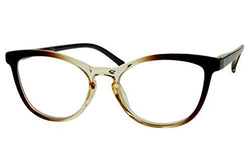 Designer Lesebrillen Damen Rehbraun transparent cat eye Katzendesign Katzenauge glänzend mit Federbügel Lesehilfen Sehhilfen 1.0 1.5 2.0 2.5 3.0 3.5, Dioptrien:Dioptrien 1.5