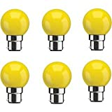 Syska 1 Watt Unbreakable Yellow Led Bulb (Pack of 6, B22 Base)