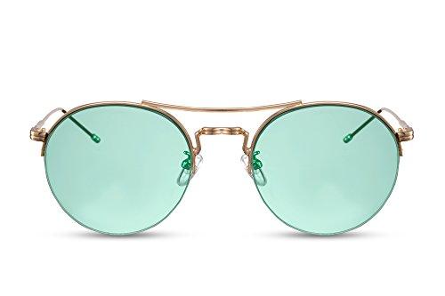 Cheapass Sonnenbrille Rund-e Brille Silber Grün UV400 Hipster Nerd Damen Metall