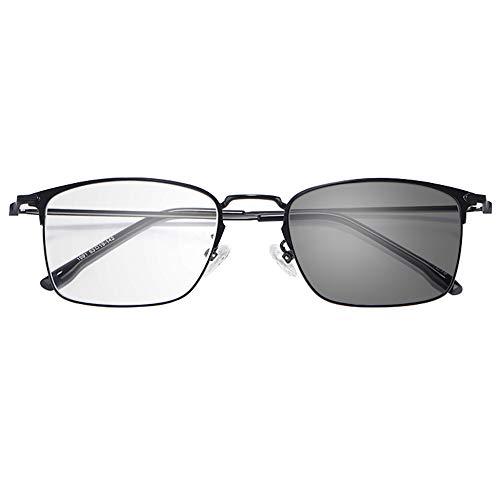 Reading glasses Anti-blau Lesebrille, Schwarze HD-Leselinse für Herren, Farbwechsel im Freien, UV, Dioptrien (+1,0)