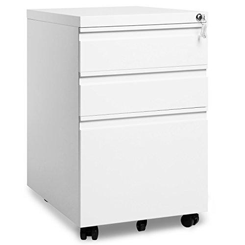 Merax Rollcontainer, inkl. 3 Schübe, grundsolide Verarbeitung, optimal für Schreibtisch, Büromöbel, Schreibtisch Container, Rollkontainer Büro, Rollkontainer mit Schubladen, Hängeregistratur (Weiss C) -