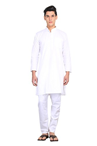FOCIL White Cotton Solid Kurta Pyjama Set For Men  available at amazon for Rs.399