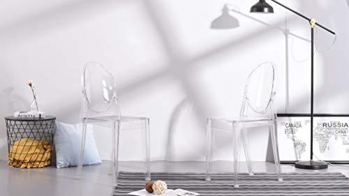Mu-casa sedie per sala da pranzo cucina: trasparente materiale policarbonato, 2x confezioni)