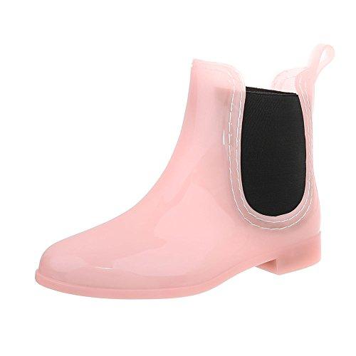 Ital-Design Gummistiefeletten Gummi Damen-Schuhe Gummistiefel Blockabsatz Stiefeletten Hellrosa, Gr 39, Pt01-1-