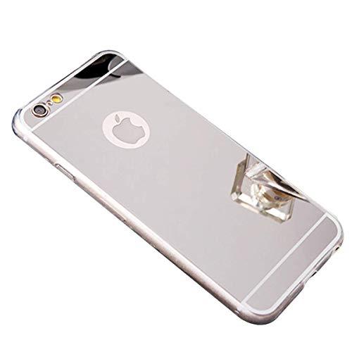 Tifightgo iPhone 8/7 Hülle Silber,iPhone 7/8 Spiegelhülle,Mirror Case Ultra Dünn Überzug Glitzer Strass Soft TPU Silikon Crystal Clear Durchsichtige Handyhülle für Apple iPhone 8/7 4,7 Zoll -