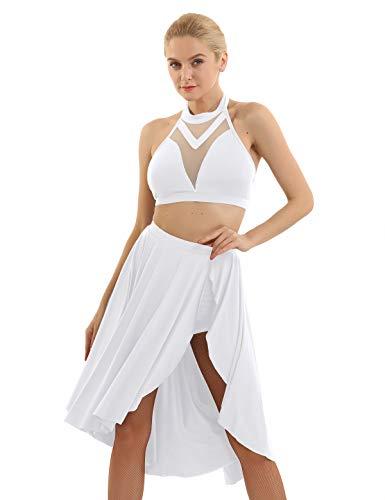 inlzdz Damen 2-teiliges Ballettkleid mit Neckholder, Asymmetrisch, zeitgenössisch, Lyrical Dancewear Gr. Small, weiß - Neckholder Salsa