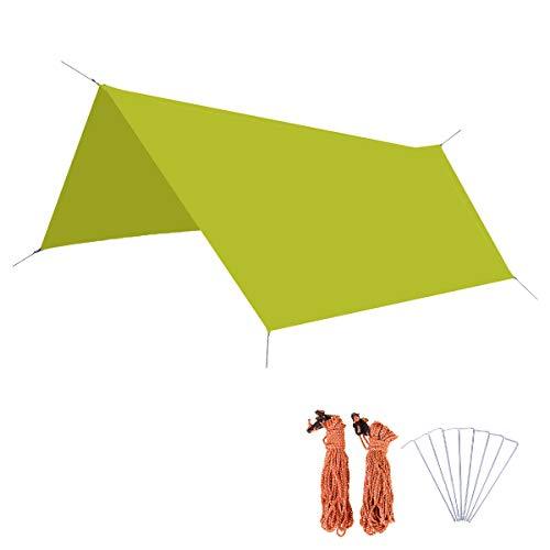 Azarxis Zeltplane mit Erdnägel+ Seilen, Hammock Tarp für Hängematte, Leichte Plane für Camping Hängematte (Grün, M (300cm×220cm))