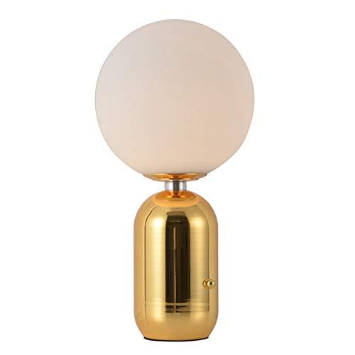 Moderne Glas Tischlampe Eisen Golden Tischleuchte Wohnzimmer Leuchte Schlafzimmer Nacht Studie Runde Glastisch Lampe Lernlampe Nachttisch Lampe E27 18 * 38Cm