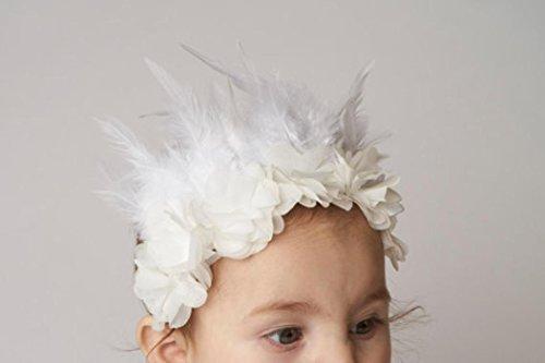 kingko® Baby Mädchen Feder elastisches Kind scherzt Mädchen Haarband Fotografie Stützen Beige