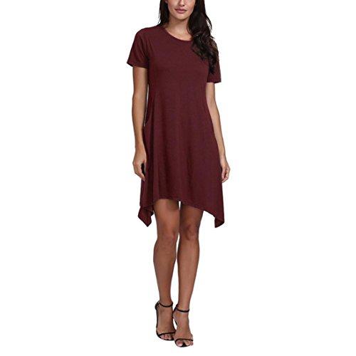 UFACE Damen Kurzarm Rundhalsausschnitt Taschen Kleid Damen Kurzarm Rundhalsausschnitt Taschenkleid Mini Kleid(Rot,EU/44CN/M)
