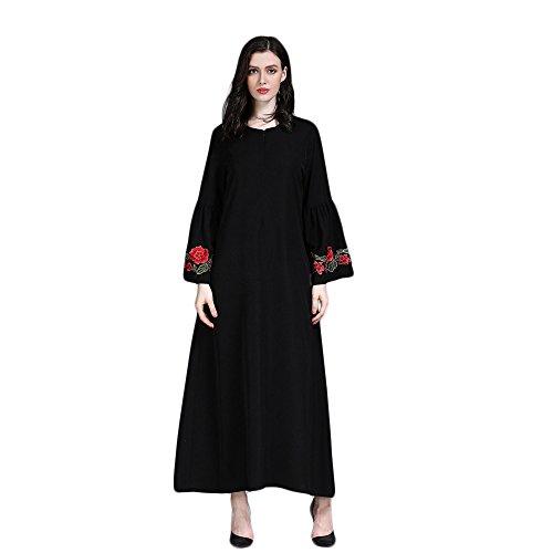 Muslimische Stickerei Langarm Kleid Tunika Abaya Dubai Kleider Damen Maxikleid Abendkleid Muslim Frauen Knöchellang Kleid Hochzeit Kaftan Robe Gewand Islamische Kleidung (Schwarz, 2XL)