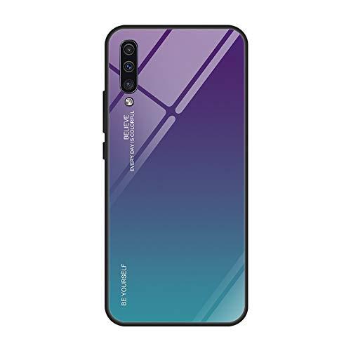Kompatibel mit Samsung Galaxy A50 Hülle,9H Gehärtetes Glas Back Cover Dünn Spiegel Schutzhülle Mirror Case Silikon Bumper Frame Farbverlauf Kratzfest Stoßfest Schutz Handyhülle für Galaxy A50 (A50, 3)