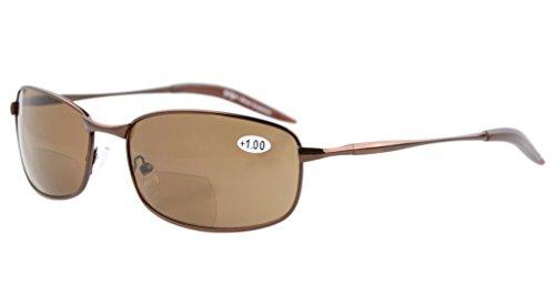 Eyekepper Metallrahmen Fischen Golf Radfahren Fliegen Outdoor Bifokale Sonnenbrille Braun +2.5