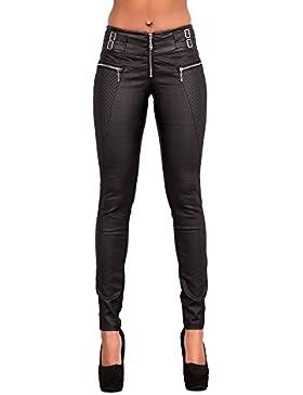 Sexy Ladies color negro con aspecto de piel Leggings pantalones de elástico Slim Fit Para Mujer Talla UK 6–14