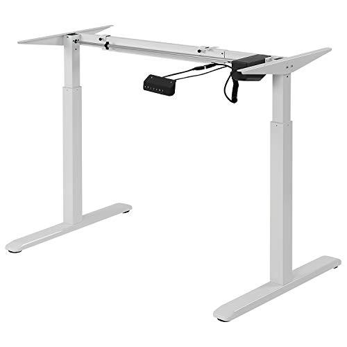 Exeta ergoEASY Elektrisch höhenverstellbarer Schreibtisch (Vers. 2019), 2-Fach-Teleskop,Memory-Funkt. und Softstart/-Stopp, elektrisch höhenverstellbares Tischgestell weiß - für gängige Tischplatten