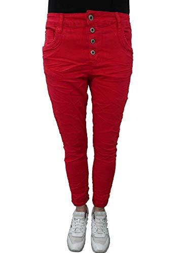 Karostar by Lexxury Denim Stretch Baggy-Boyfriend-Jeans Boyfriend 4 Knöpfe offene Knopfleiste weitere Farben rot 3XL-46 -