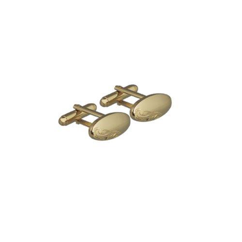 Gemelli disk ovali placcati oro 9 x 21 mm, a cupola con inciso girevoli a mano