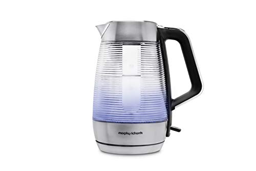 Morphy Richards Vetro Illuminating Dual Wall Glass Kettle 108010 Brushed Stainless Steel Best Price and Cheapest