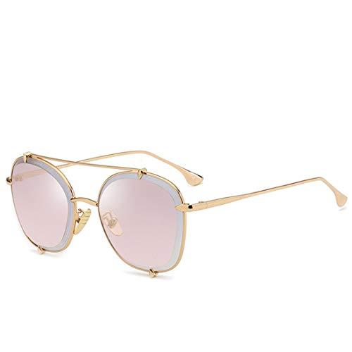Polarisierte Sonnenbrille mit UV-Schutz Exquisite runde Form Metallrahmen Sonnenbrillen für Frauen Männer UV-Schutz für den Außenbereich. Superleichtes Rahmen-Fischen, das Golf fährt ( Farbe : Rosa )
