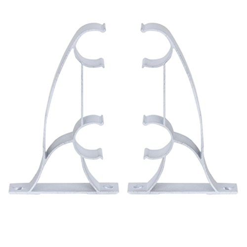 Asien 2pcs Metal Doble Cortina Barras de Cortina Polacos Soportes de 25mm (Blanco)
