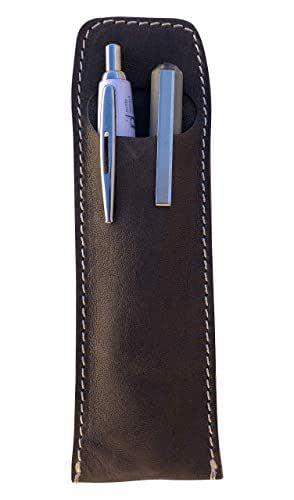 CG - Talento Fiorentino, astuccio contenitore porta penne, custodia porta matite in vera pelle lavata effetto stropicciato vintage, fatto a mano a Firenze, Made in Italy (Grigio)