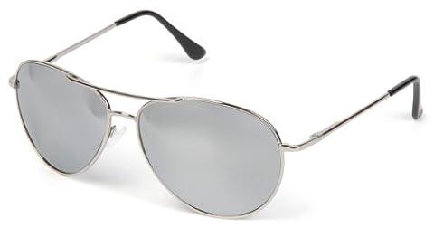 styleBREAKER Sonnenbrille verspiegelt, Aviator Pilotenbrille getönt mit Federscharnier, Unisex 09020037, Farbe:Gestell Silber / Glas Hellgrau, V4